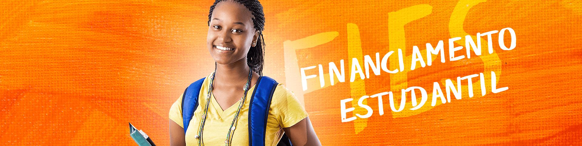 banner financiamento estudantil com moça em fundo laranja