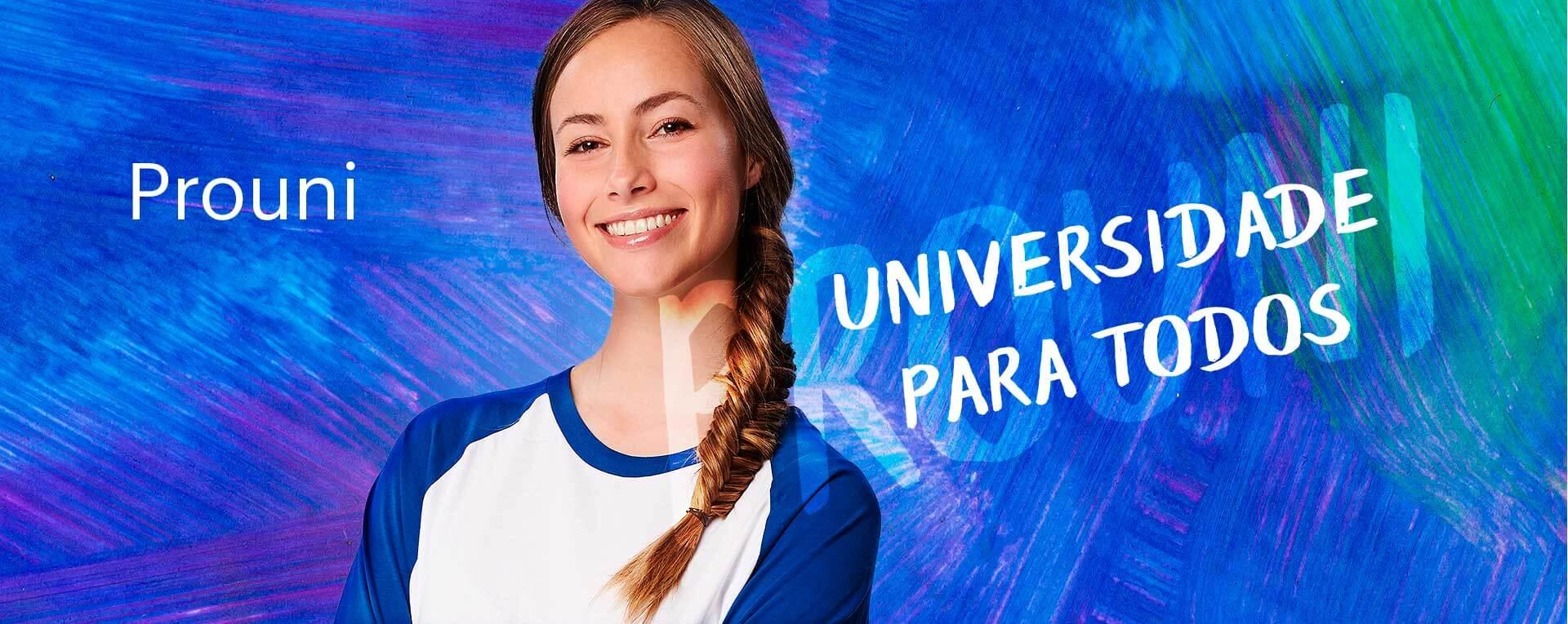 Banner prouni com moça em fundo azul
