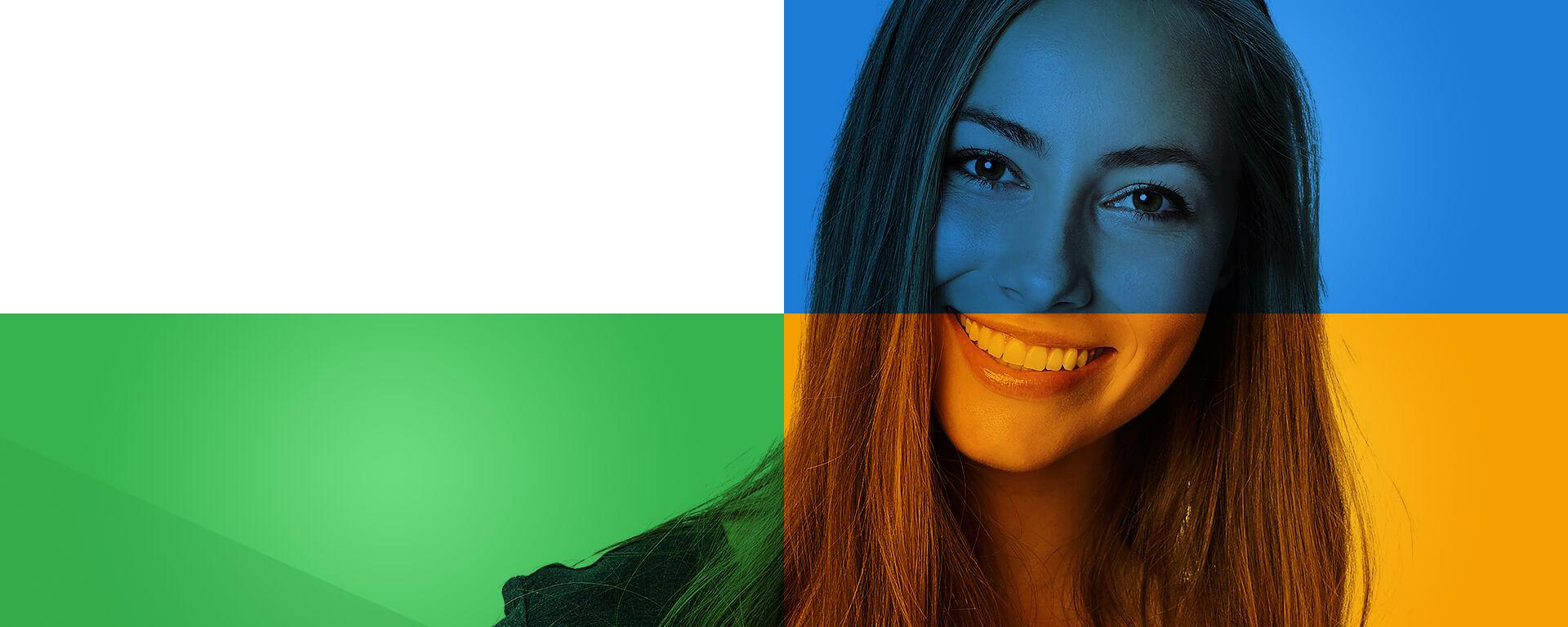 Banner com moça multicolorido