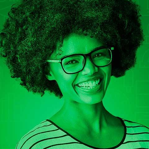 Icone moça com fundo verde
